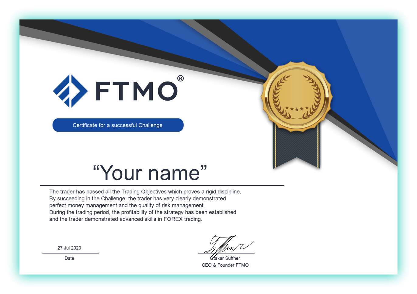 FTMO Funded Trader your name here